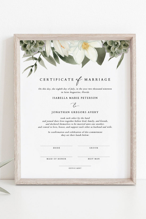 Cara - White Magnolia and Succulent Marriage Certificate Template