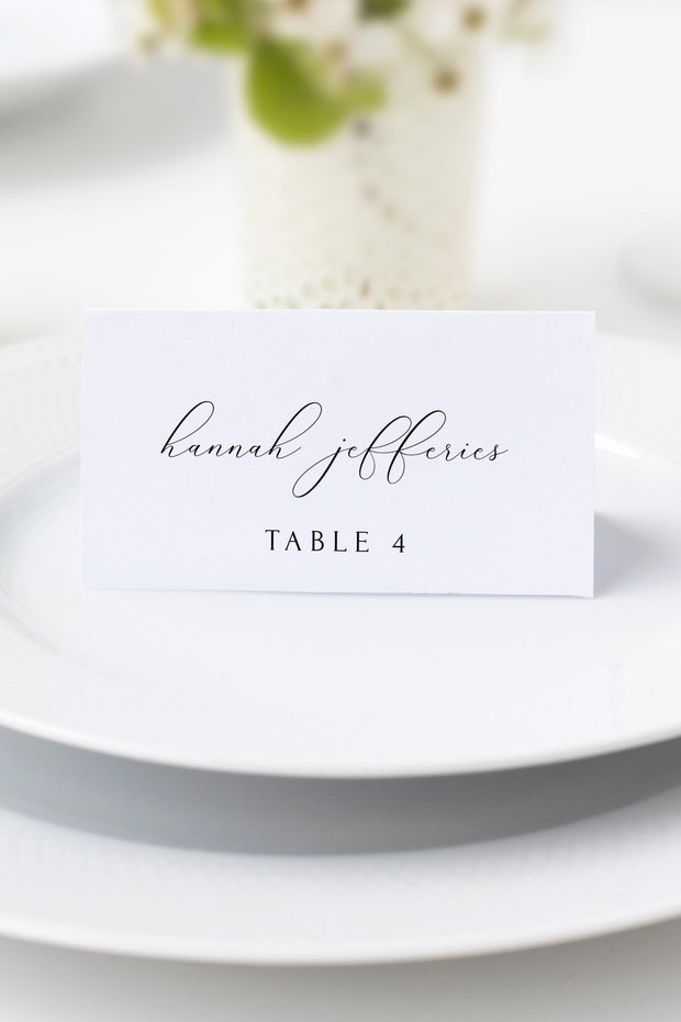 Asher - Minimalist Calligraphy Wedding Place Card Template - Unmeasured Events