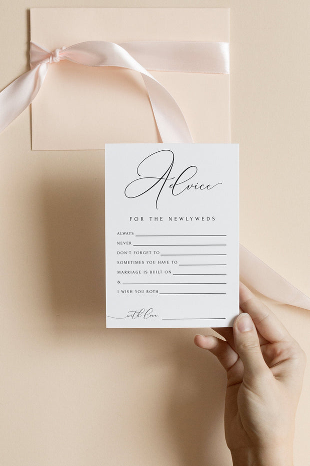 Asher - Minimalist Calligraphy Wedding Newlywed Advice Card Template