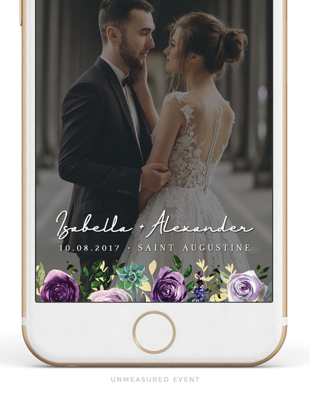Olivia - Purple Floral and Succulent Snapchat Filter Template - Unmeasured Events