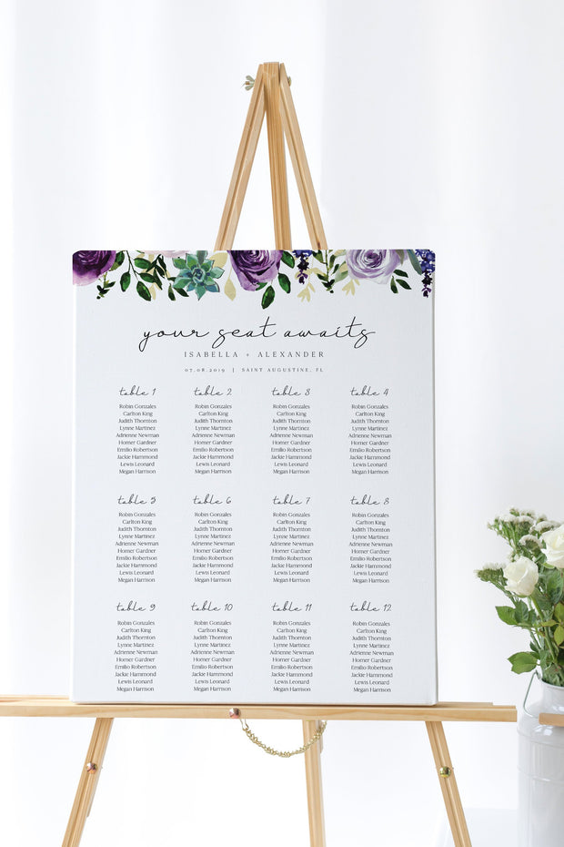 Olivia - Purple Floral and Succulent Wedding Table Seating Chart Template - Unmeasured Events