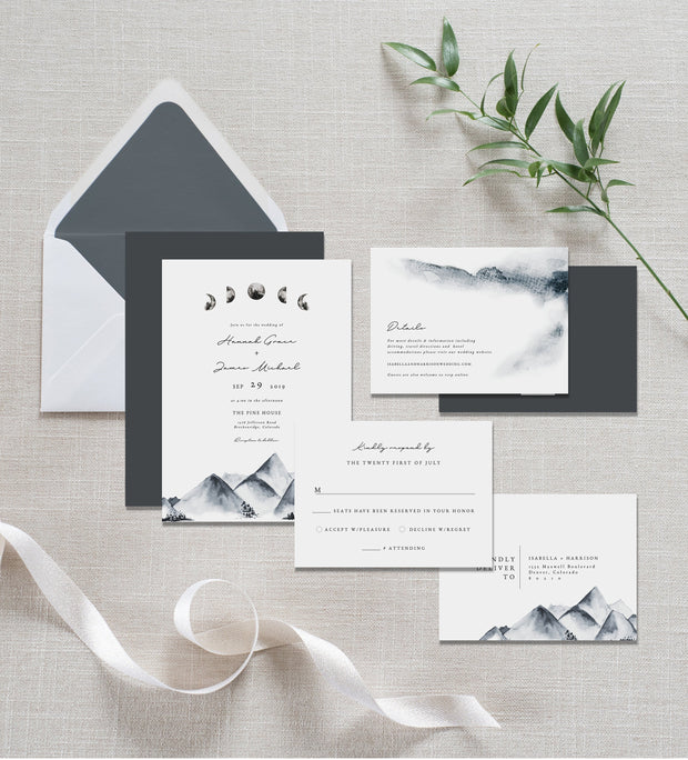 Denali - Bohemian Mountain & Moon Wedding Invitation Template Suite - Unmeasured Events