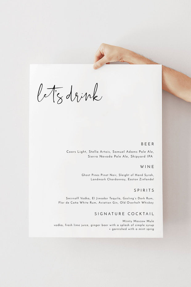 Adella - Modern Minimalist Wedding Large Menu Sign Template