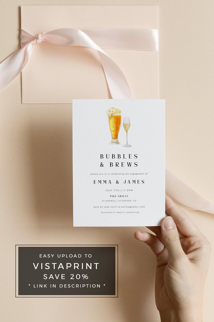 Charlie - Bubbles and Brews Engagement Party Invitation Template - Unmeasured Events