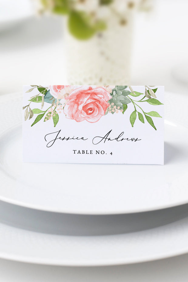 Finley - Rustic Peach Floral & Succulent Wedding Place Cards Template - Unmeasured Events
