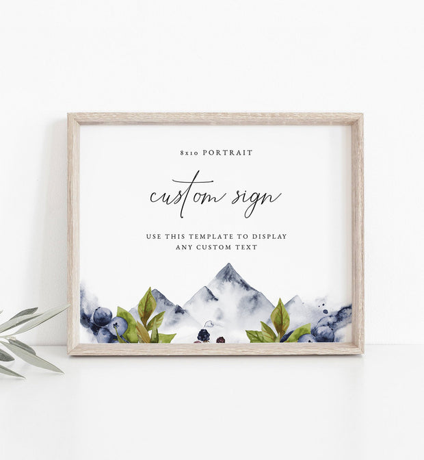 "Sierra - Boho Mountain 8x10"" Custom Wedding Sign Template"