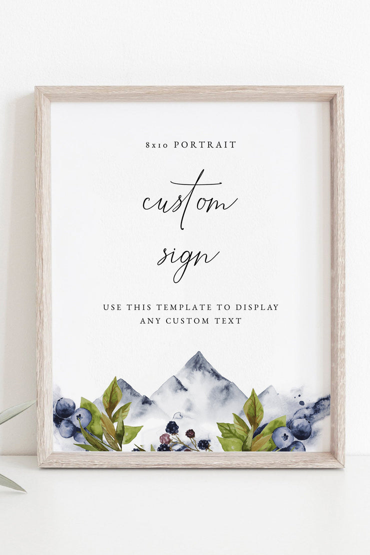"Sierra - Boho Mountain 8x10"" Custom Wedding Sign Template - Unmeasured Events"