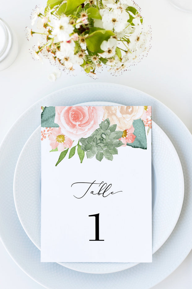 Finley - Rustic Peach Floral & Succulent Wedding Table Numbers Template - Unmeasured Events