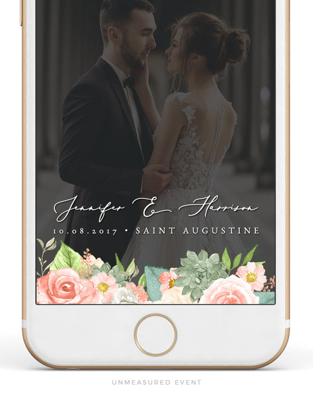 Finley - Rustic Peach Floral & Succulent Wedding Snapchat Filter Template - Unmeasured Events