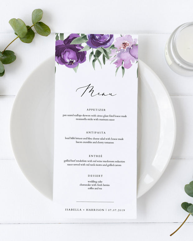 Lilah - Purple Floral Wedding Menu Card Template - Unmeasured Events