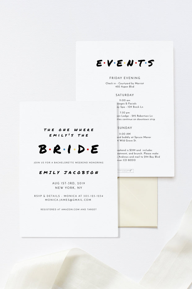 Rachel - Modern Friend Themed Bachelorette Invitation & Itinerary Template