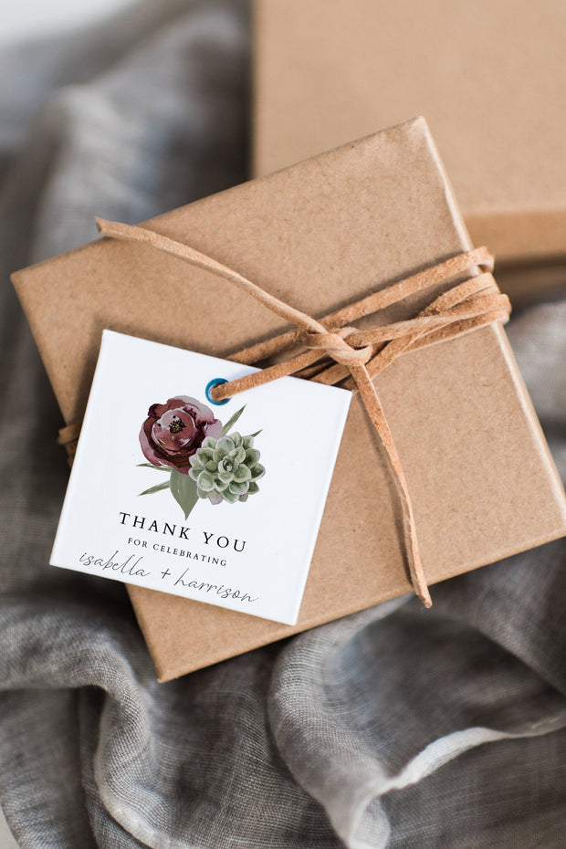 Ava - Boho Burgundy & Succulent Wedding Favor Tag Template - Unmeasured Events
