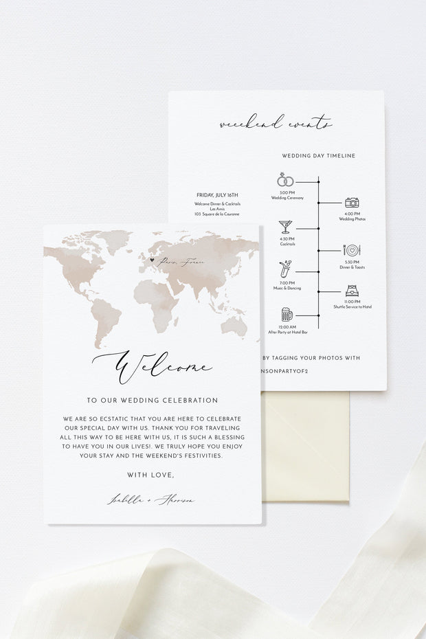 Carmen - Watercolor Map Destination Welcome Letter and Timeline Template - Unmeasured Events