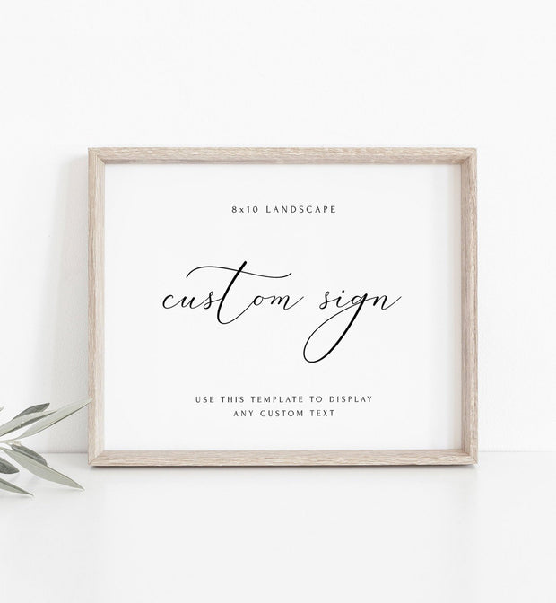 "Asher - Minimalist Calligraphy Wedding 8x10"" Custom Sign Template - Unmeasured Events"