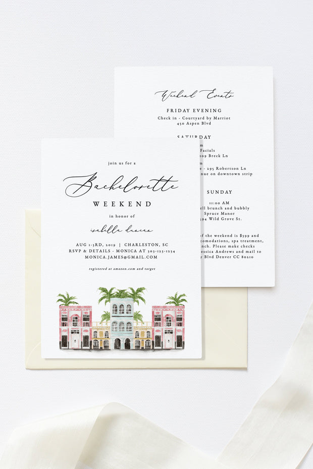 Watercolor Charleston Bachelorette Invitation & Itinerary Template
