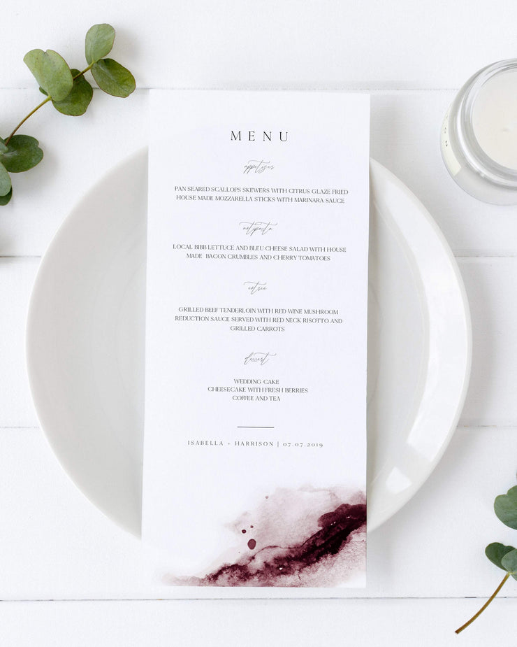 Scarlett - Abstract Burgundy Watercolor Wedding Menu Template - Unmeasured Events