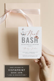 Genna - Rose Gold Nash Bash Bachelorette Invitation & Itinerary Template - Unmeasured Events