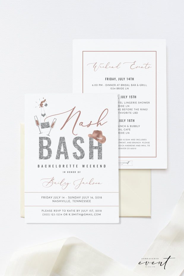 Genna - Rose Gold Nash Bash Bachelorette Invitation & Itinerary Template