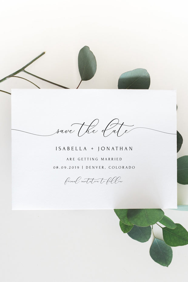 Asher - Minimalist Calligraphy Wedding Save the Date Template - Unmeasured Events
