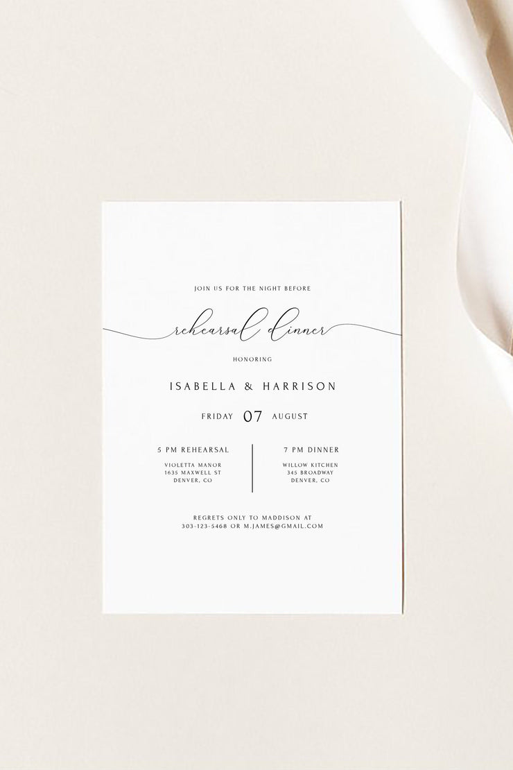 Asher - Minimalist Calligraphy Wedding Rehearsal Dinner Invitation Template - Unmeasured Events