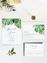Cora - Modern Palm Tropical Wedding Invitation 3 Piece Suite Templates