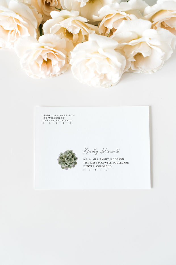 Ava - Boho Succulent Wedding Envelope Addressing Template - Unmeasured Events