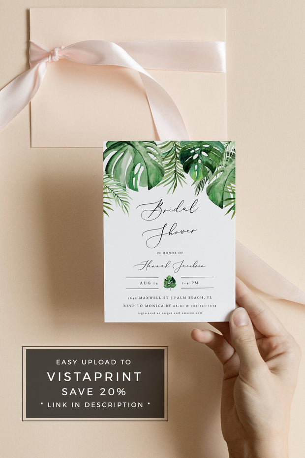Cora - Modern Palm Tropical Bridal Shower Invitation Template