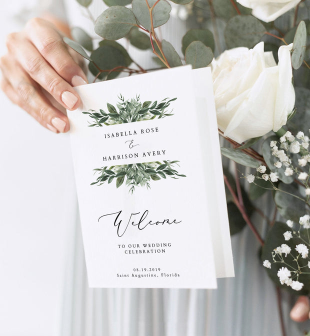 Lana - Modern Greenery Foldable Wedding Program Template - Unmeasured Events
