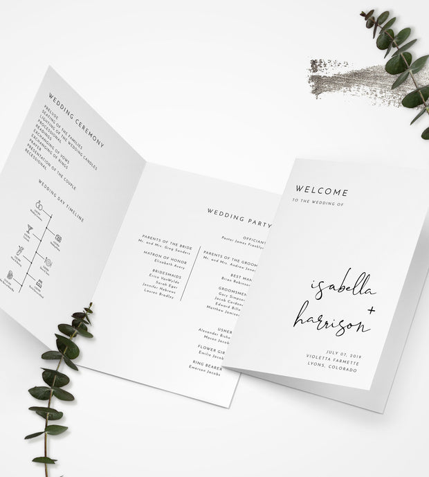 Adella - Modern Minimalist Wedding Folded Program + Timeline Template