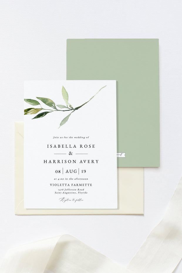 Isabella - Minimal Greenery Wedding Invitation Template - Unmeasured Events