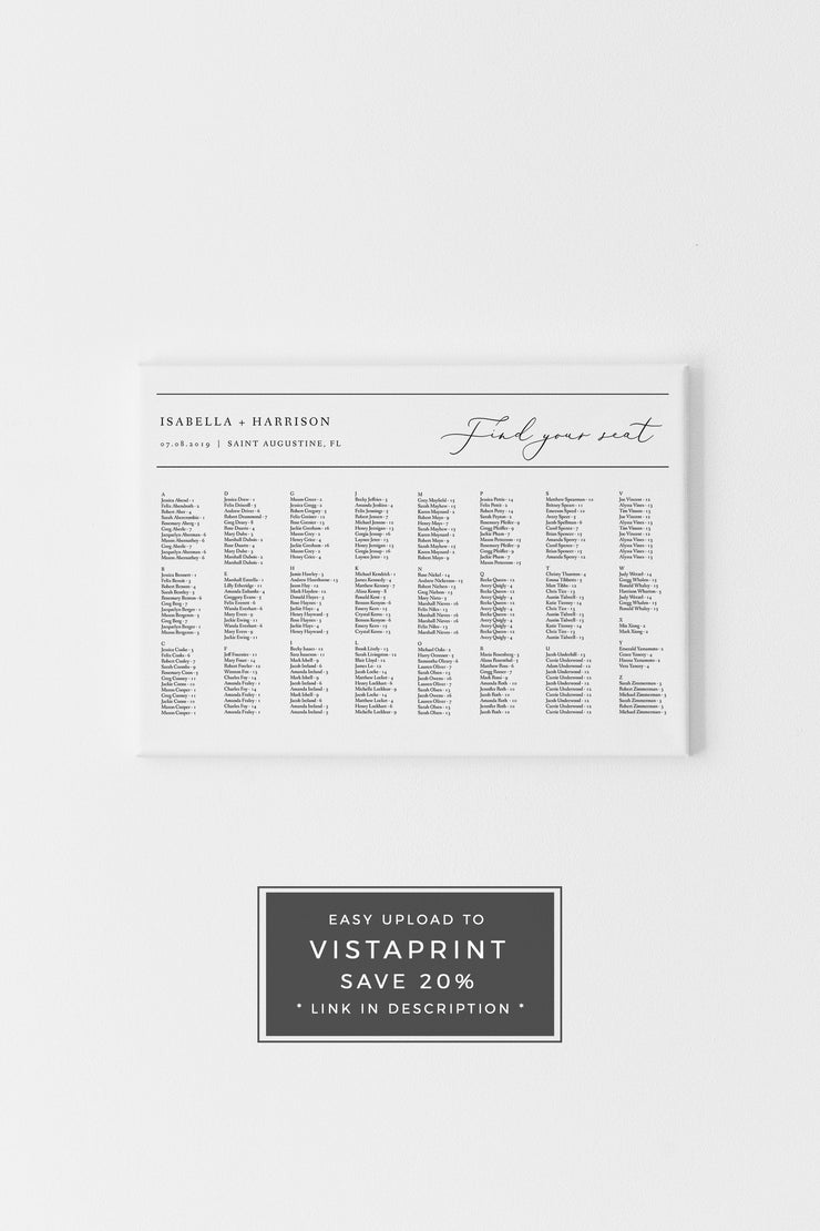 Evelyn - Elegant Minimal Wedding Alphabetical Seating Chart Template - Unmeasured Events