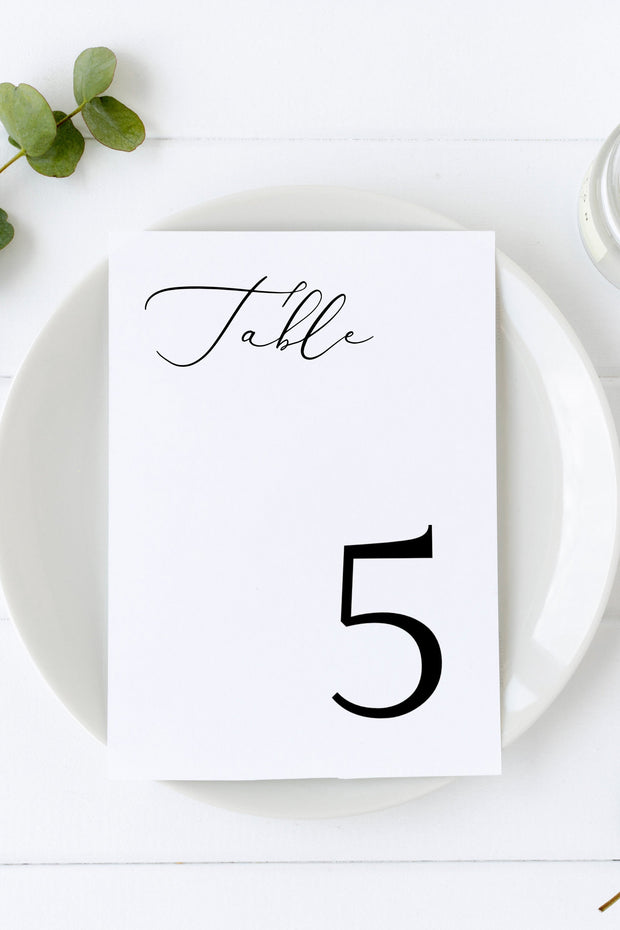 Evelyn - Elegant Minimal Wedding Table Number Template