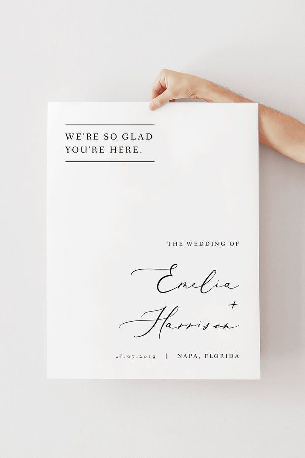 Evelyn - Elegant Minimal Wedding Welcome Sign Template - Unmeasured Events