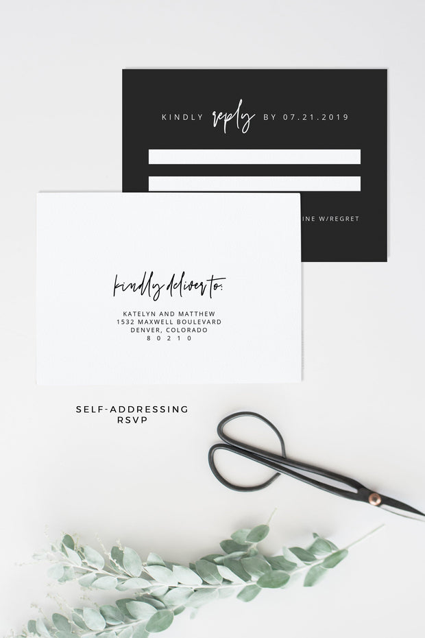 Priya - Black Contemporary Wedding Invitation Template Suite Instant Download - RSVP Card