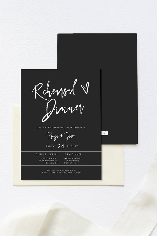 Priya - Black Contemporary Wedding Rehearsal Invitation Template - Unmeasured Events