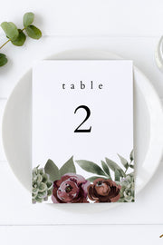 Ava - Boho Burgundy & Succulent Wedding Table Number Template - Unmeasured Events