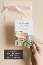Nola - Watercolor New Orleans French Quarter Save the Date Template