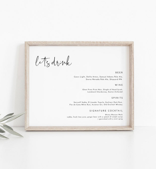 "Adella - Modern Minimalist 8x10"" Menu Template - Unmeasured Events"