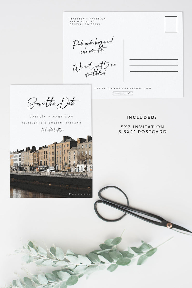 Caitlin - Watercolor Dublin Ireland Save the Date Template - Unmeasured Events