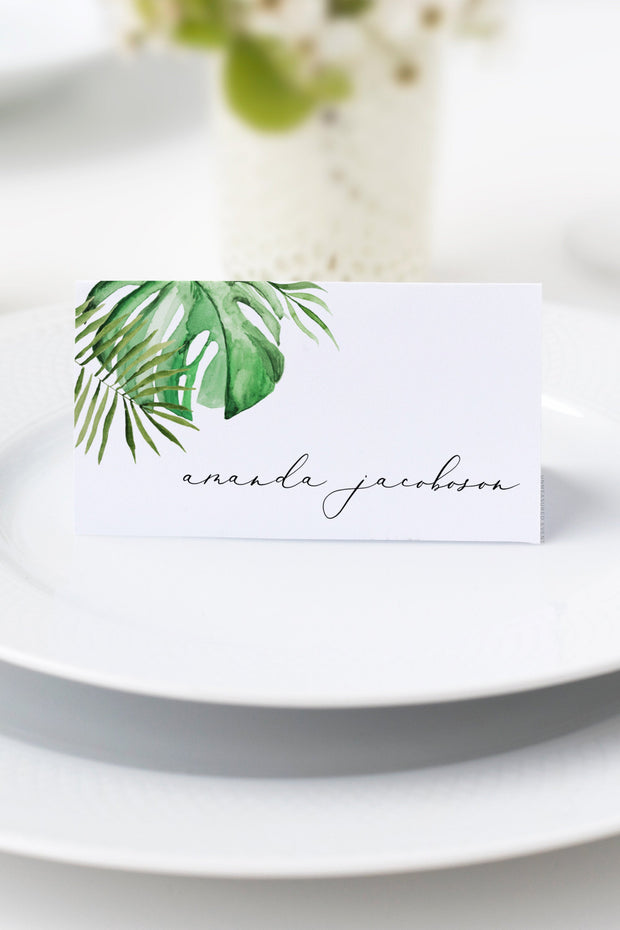 Cora - Modern Palm Tropical Place Card Template - Unmeasured Events