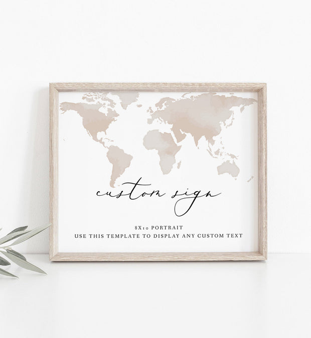Carmen - Watercolor Map Destination Wedding Custom 8x10 Sign Template