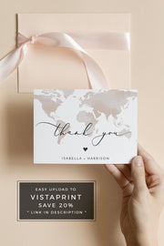 Carmen - Watercolor Map Destination Wedding Thank You Card Template