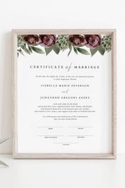 Ava - Boho Burgundy & Succulent Marriage Certificate Template - Unmeasured Events
