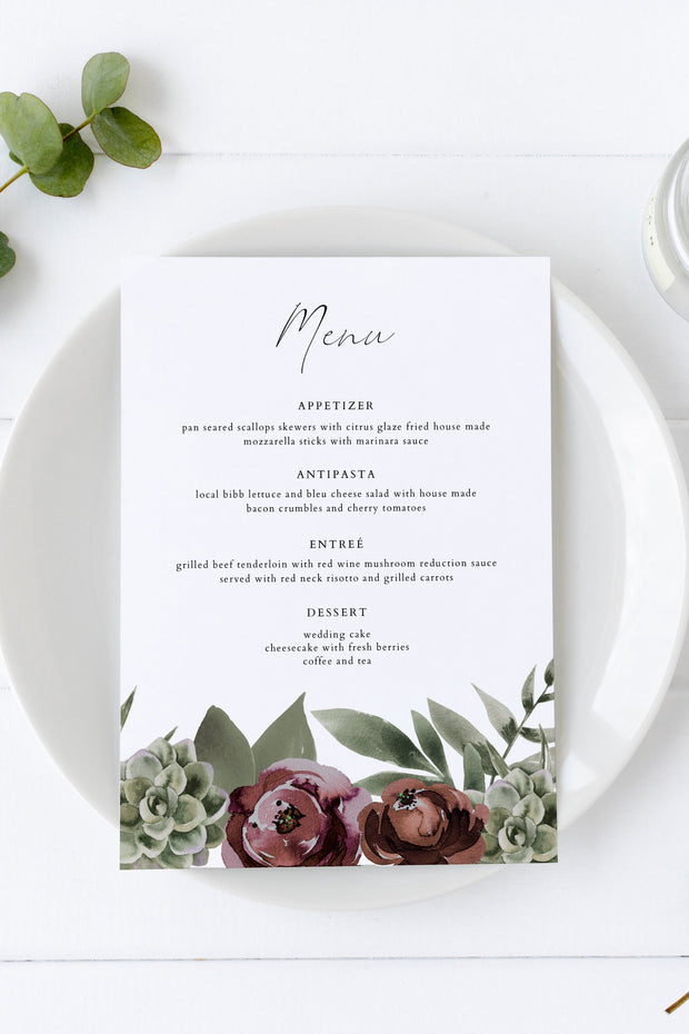 Ava - Boho Burgundy & Succulent Wedding Menu Template - Unmeasured Events