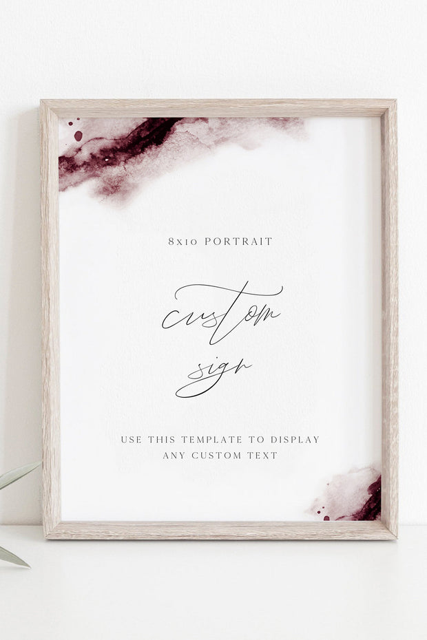 "Scarlett - Abstract Burgundy Watercolor Wedding Custom 8x10"" Sign Template"