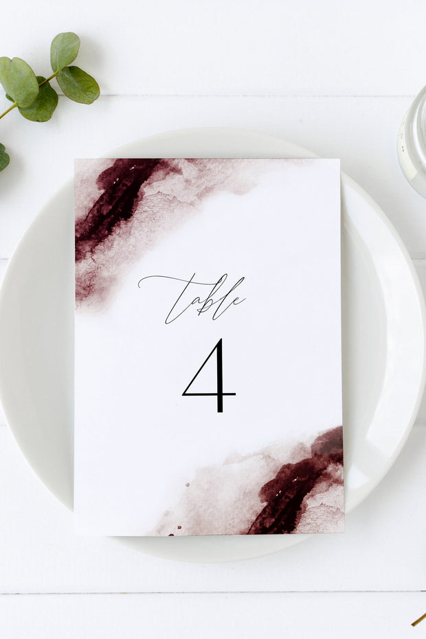 Scarlett - Abstract Burgundy Watercolor Wedding Table Number Template - Unmeasured Events