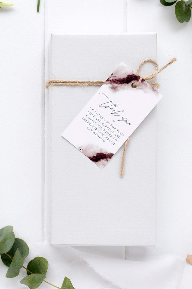 Scarlett - Abstract Burgundy Watercolor Wedding Favor Tag Template - Unmeasured Events