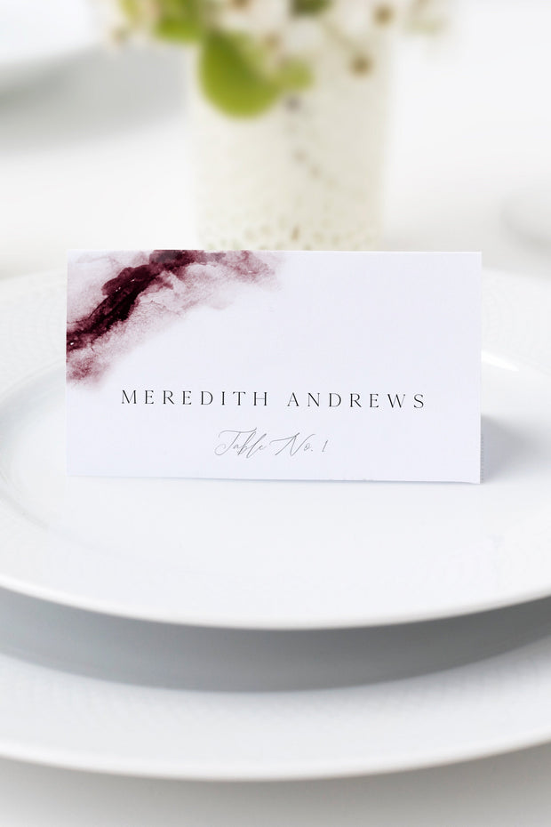Scarlett - Abstract Burgundy Watercolor Wedding Place Cards Template - Unmeasured Events