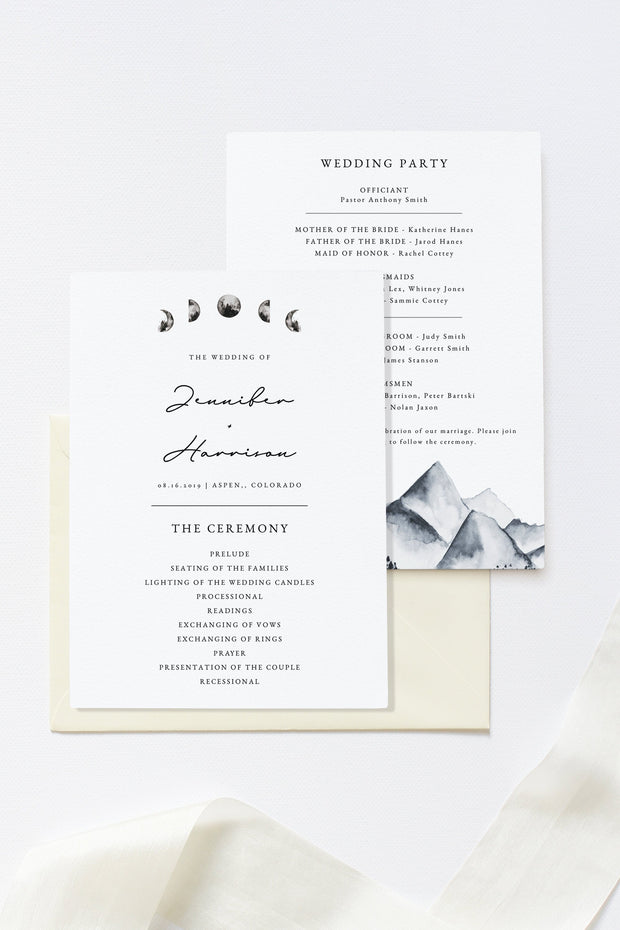 Denali - Bohemian Mountain & Moon Wedding Program Template - Unmeasured Events