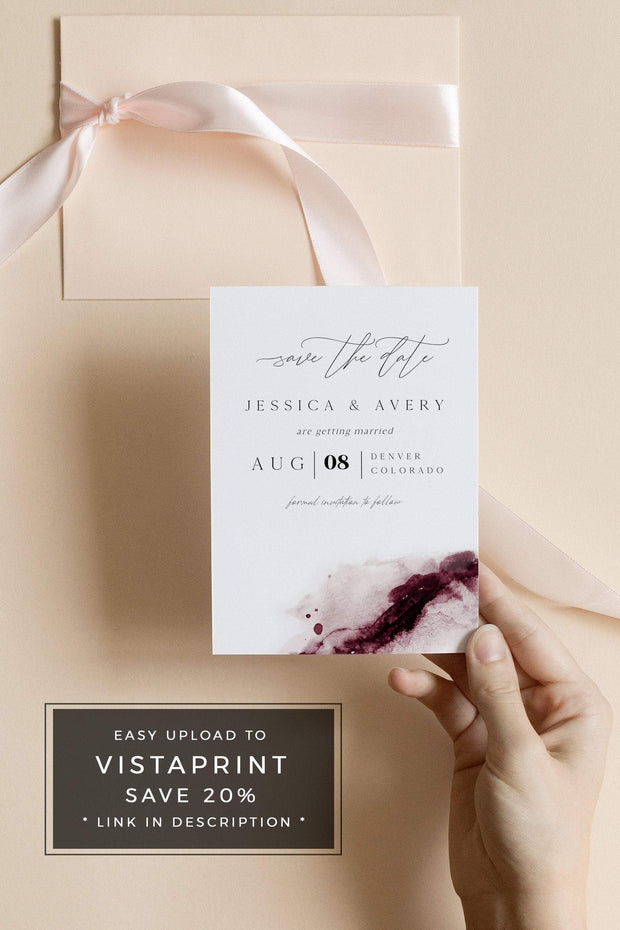 Scarlett - Abstract Burgundy Watercolor Wedding Save the Date Template - Unmeasured Events